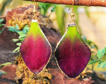 Orchid petal earrings gold plated