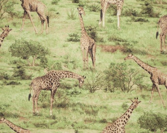 Giraffes in the Wild Born Free Print Pure Cotton Fabric--By the Yard