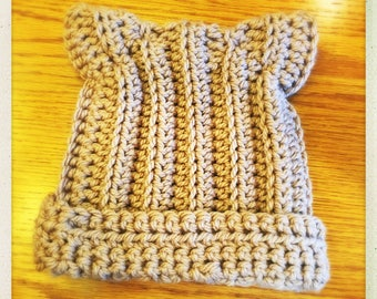 Crocheted Brown Soft Chunky Cat Hat w/Cuff