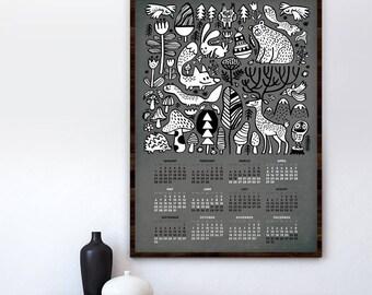 Wall calendar 2018 - Forest animals- 2018 calendar - wild life calendar - forest calendar - 2017 calendar print - home decor