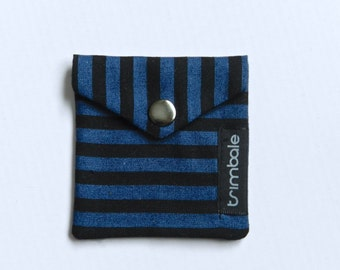 Recycled fabric pouch. Black and blue-grey line pattern