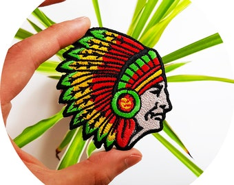 Indian Cheif Native Chieftain Patriarchal Age Headman Iron On Embroidered Patch