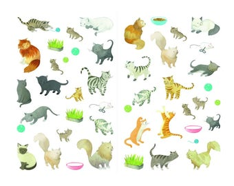 86 multifaceted stickers - Theme: cats