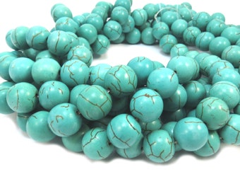 Magnesite Beads, Turquoise Green Beads, 12mm Round, 15 inch Strand, Jewelry Making Supplies, Item 309gsm