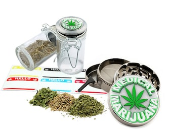 "Medical Leaf Design - 2.5"" Zinc Alloy Grinder & 75ml Locking Top Glass Jar Combo Gift Set Item # G022115-044"