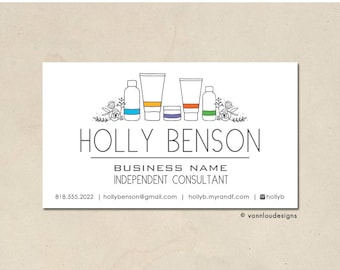 printable - skin care business cards - mommy calling cards - original hand illustrated bottle florals - personalized - small business - DIY