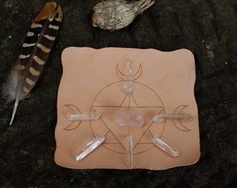 Boho Carved leather crystal grid set * Sacred geometry crescent moon *