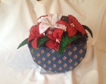 Red and White Fabric Flowers and Basket