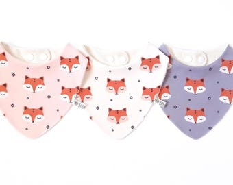 100% organic teething bandana bib for baby - My Little Fox - 3 colours available