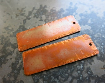 """Rustic Copper Earring Rectangles, Hammered Edge, Copper 1/2"""" x 1 1/2"""", Handmade Findings, Choice of Finish"""
