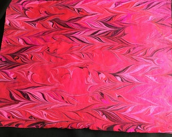 Women's March - Extra Large Hand Marbled Lokta Art Paper Pink Red Magenta on Neon Pink Paper