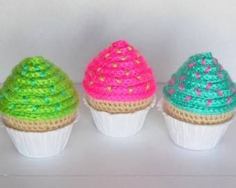 Set of 3 Neon Crochet Cupcakes / Amigurumi Stuffed Crochet Cupcakes / Plush Crochet Cupcake Set
