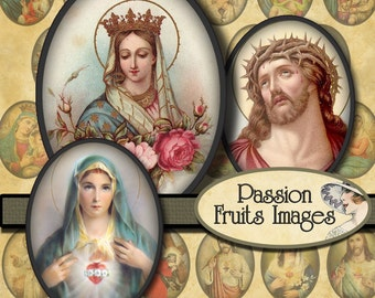 Holy Images 30mm x 40mm cameo ovals  Digital Collage Sheet-- Instant Download