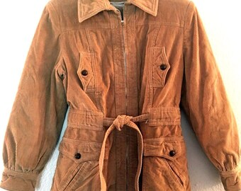 Vintage 70s  Corduroy Fur Lined Jacket  Zip Front  Womens  Size S