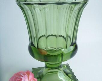 Vintage Green Glass Footed Vase