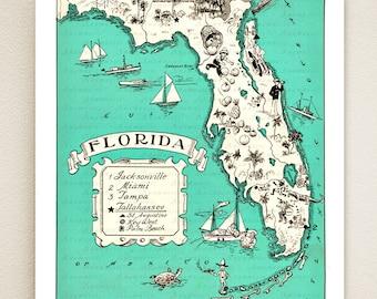 FLORIDA MAP PRINT - shown in sea blue - personalize it - vintage coastal map - fun wedding or housewarming gift - beach house art print
