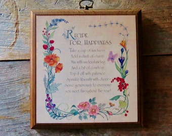 """Vintage """"Recipe for Happiness"""" Wooden Wall Plaque Vintage Wall Decor"""