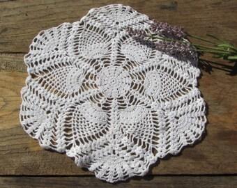 "French vintage crochet, 11"" crochet doily, white cotton, handmade doily, pineapple design, French vintage linen, cottage chic,"