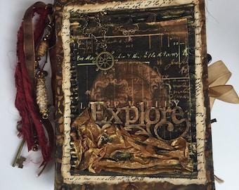 Junk Journal Handmade, Traveler's Notebook, Diary, Art Journal, Scrapbook, Gratitude Journal, Wedding Guest Book