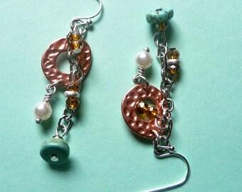 Mixed Metal Earrings, Copper and Silver Earrings,