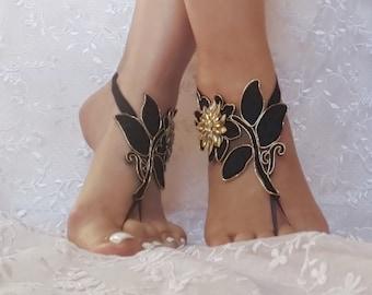 Black gold beach shoes, Unique design, lariat sandals, wedding bridal, bellydance, gothic, wedding shoes, summer wear, gothic bridal sandals