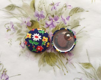 Oversized Button Earrings / Statement Jewelry / Vintage Floral Print / Small Gifts / Stud Earrings / Handmade in USA / Wholesale