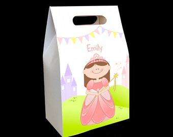 Princess party favors (set of 6 boxes) personalized princess birthday party favor box prince birthday treat and candy box containers