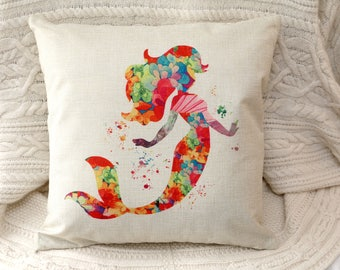 little mermaid princess inspired cushion cover colourful silhouette 45 by 45 cm  gift
