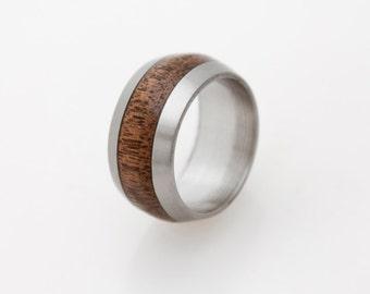 Titanium Ring Man ring wedding band with wild cherry stripe / mens wedding band / titanium wood ring