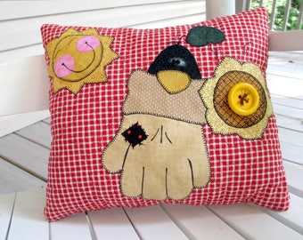 Quilted Fall Pillow, Decorative Pillow, Crow Decor, Country Decor, Rustic Cabin Decor, Appliqued Pillow, Porch Pillow