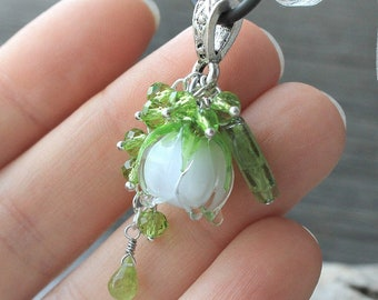 Lily of the valley Pendant, Handmade Lily of the Valley Necklace, Flower Necklace, Lampwork Beads Necklace. Made to Order.