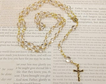 Beaded Rosary - Clear with Gold Accents