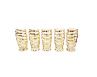 Vintage Mid Century Gold Striped Glasses Set of 5