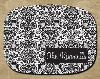 Black Damask Melamine Platter, Personalized Serving Tray, Custom Platter, Bridal Gift, Housewarming Gift, Christmas Gift