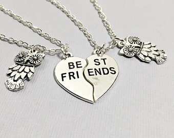 SET OF 2 Best Friend Necklace Owl Necklace Owl charm Friendship Jewelry Friend Gift Best Friend Gift