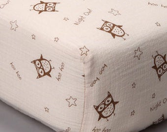 Night Owls Crib Sheet (organic unbleached cotton muslin)