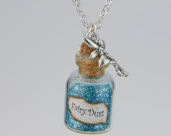 Fairy Dust Fairy in the glass necklace glitter Blue