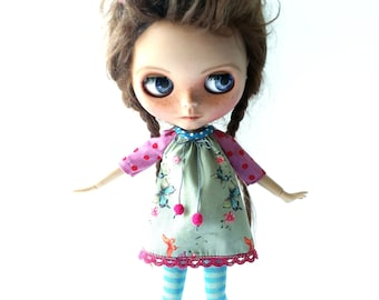 "Handmade Sweet Cotton Summer Mini Dress ""Butterfly"" for Blythe 1/6"