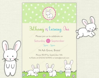 Cute White Bunnies Invitation - printable birthday party invite, first birthday, white rabbits design with custom text - IN048