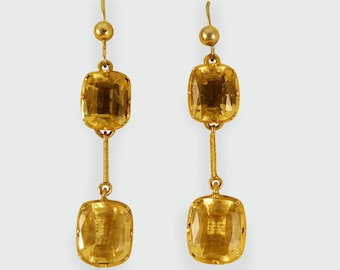 Mid Victorian Citrine Drop Earrings in 9ct Gold E48