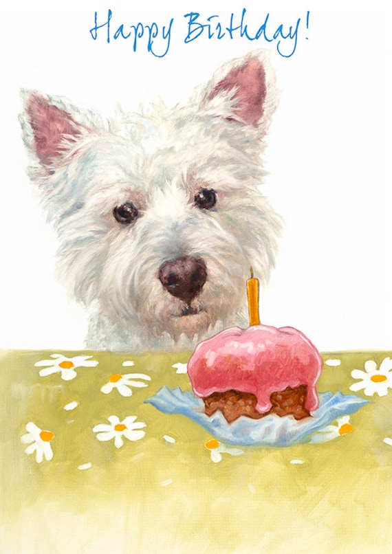Westie Birthday Greeting Card West Highland Terrier Card