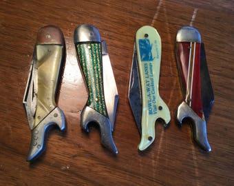 Lot of 4 Antique Lady Leg Pocket Knives, Celluloid, 1920-1950
