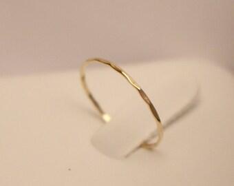 14k yellow gold stack rings, 14k stacking rings, Solid gold ring, 14k midi ring, 14k dainty ring, 14k hammered ring, 14k rose gold ring