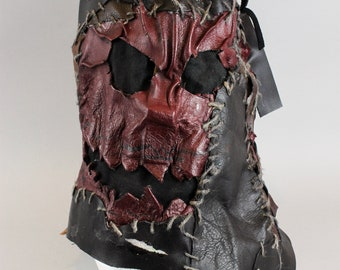 Face Mask - Mask Men - Scary Mask- Fullhead Mask - Cosplay Mask - Hangman Mask - Leather Mask - Leatherface Movie - Wasteland - Larp Mask