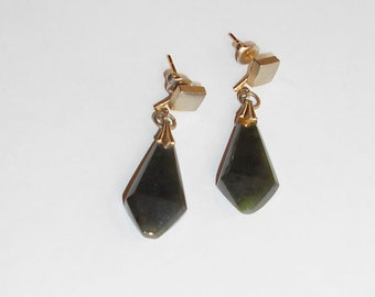 Vintage Dark Green Jade Earrings with Post mounts.