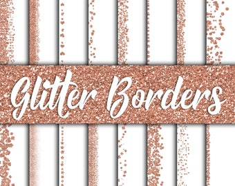 Rose  Gold Glitter Borders Digital Paper - Glitter Textures - Glitter Backgrounds -  16 Designs - 12in x 12in - Commercial Use