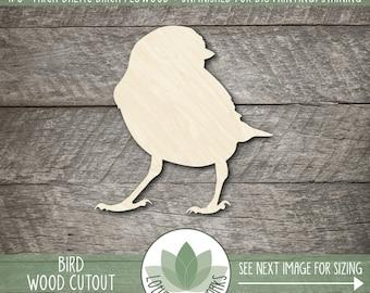 Wood Bird Shape, Unfinished Wood Bird Laser Cut Shape, DIY Craft Supply, Many Size Options, Blank Wood Shapes