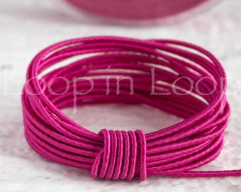 15%OFF Fuchsia Pink SILK cord Wrapped Silk Satin rope 1.5 mm thick, organic natural hand spun silk, polyester core, for Jewelry (3 feet)