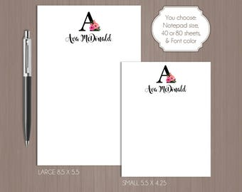 Initial Notepad . Personalized Note Pad .  Floral Initial Note Pad . Large Notepad . Small Notepad . Boutique . Custom Notepad . Floral .