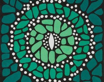 Green Butterfly Mandala-  Original Acrylic on canvas